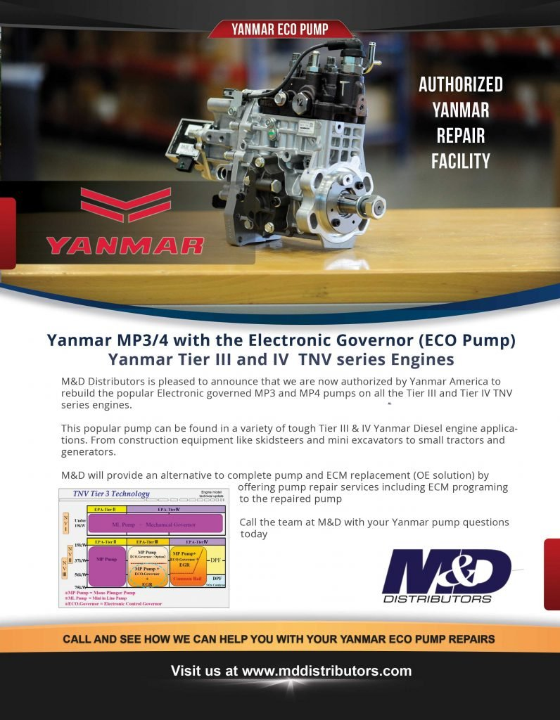 Yanmar MP34 with the Electronic Governor (ECO Pump) Yanmar Tier III and IV TNV Series Engines